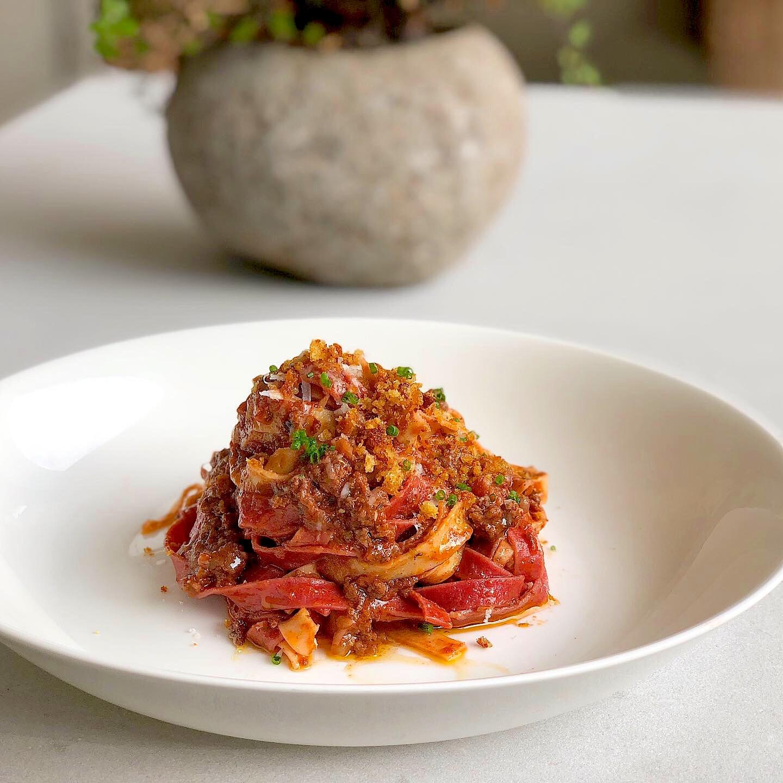 lamb veal ragout beet pasta