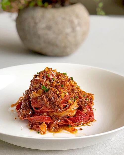 Fresh fettuccine pasta recipe with veal ragu