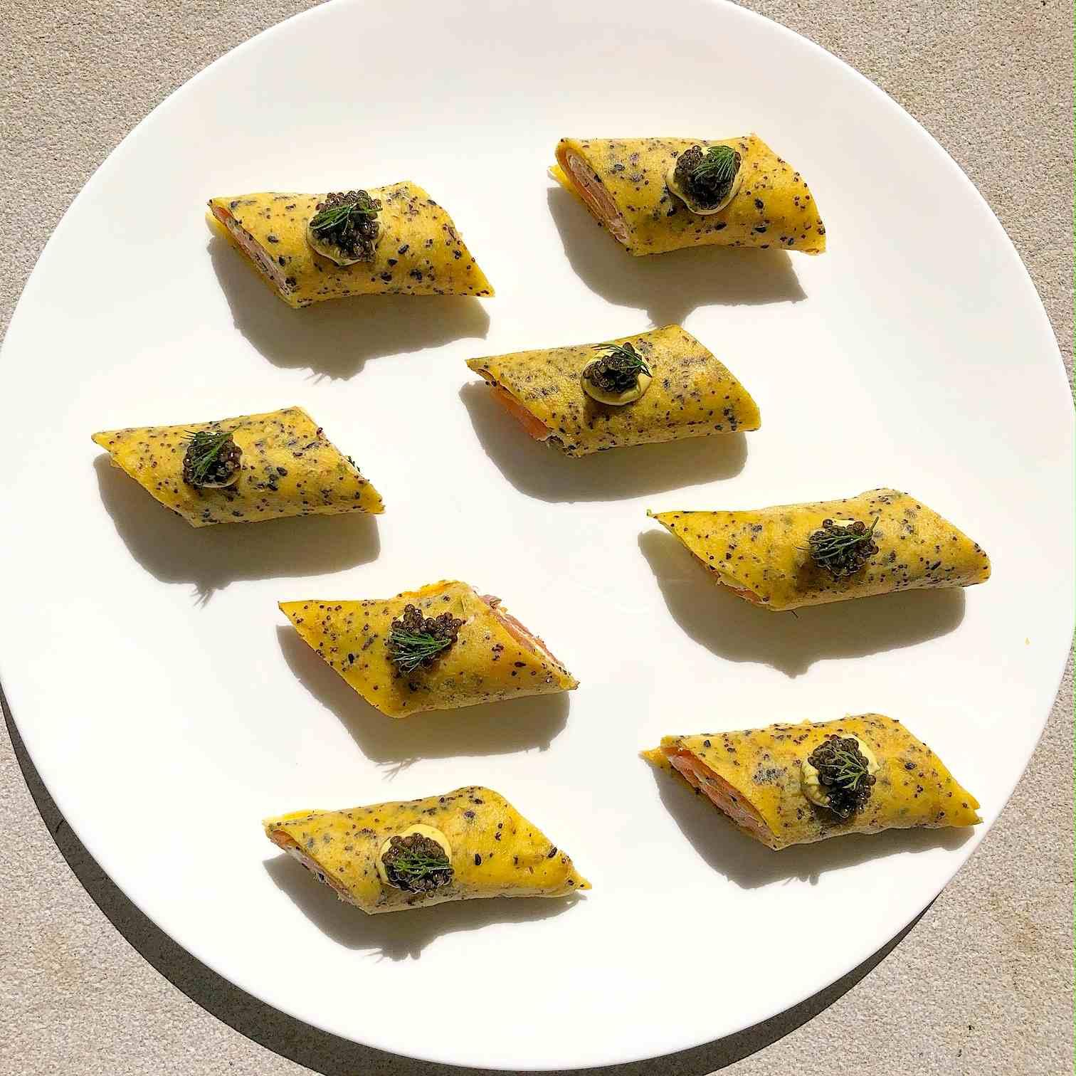 Everything bagel crepe recipe with smoked salmon