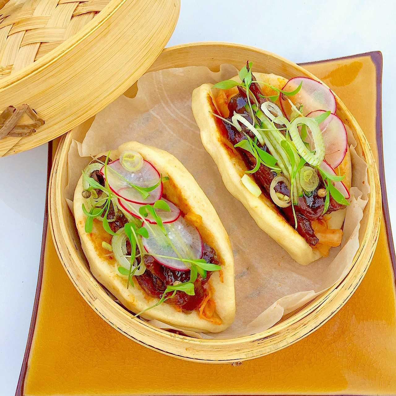 Steamed Buns (Bao) with short rib and kimchi