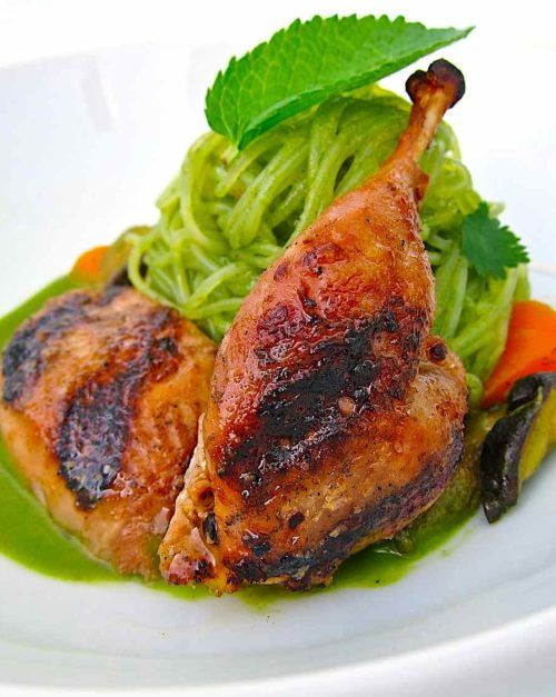 Thai Green Curry recipe with Grilled Quail