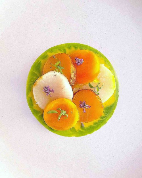 turnips recipe with, persimmon, anise hyssop (