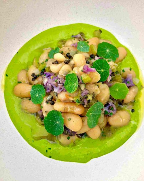 White Bean Salad with Caviar and Nasturtium