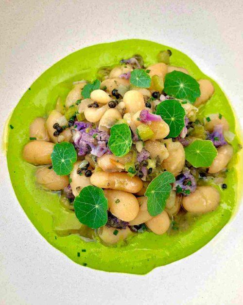 White Bean Salad with Caviar and Nasturtium