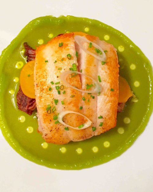 petrale sole with green garlic