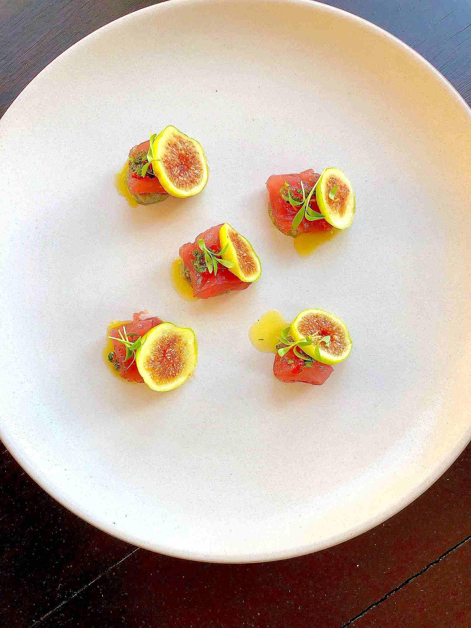 Tuna Sashimi, Fig, Eggplant