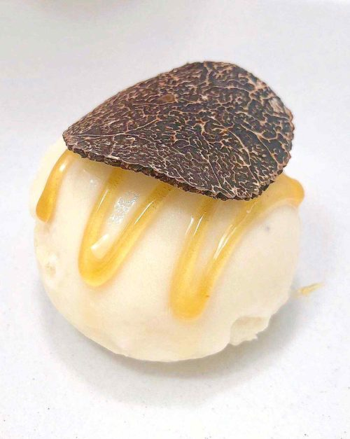 white chocolate sorbet with truffle and honey