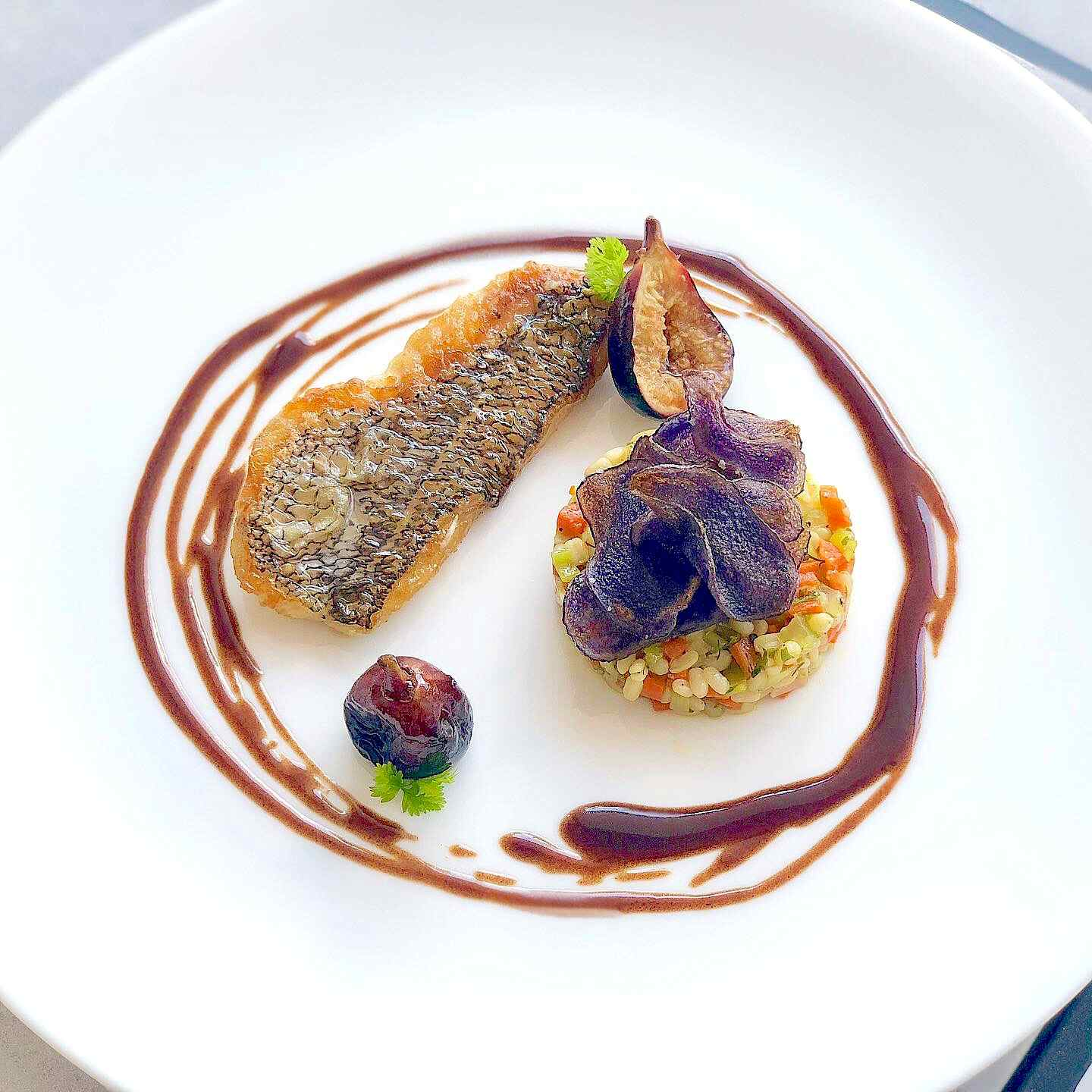Black Bass with Fig and Urad Gota