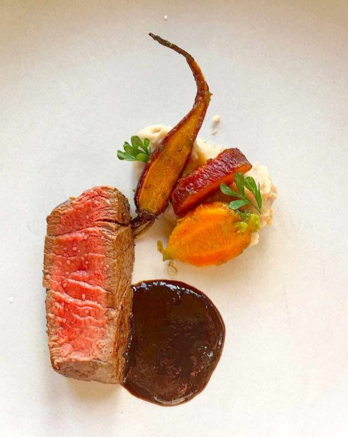 buffalo tenderloin with homemade steak sauce A1