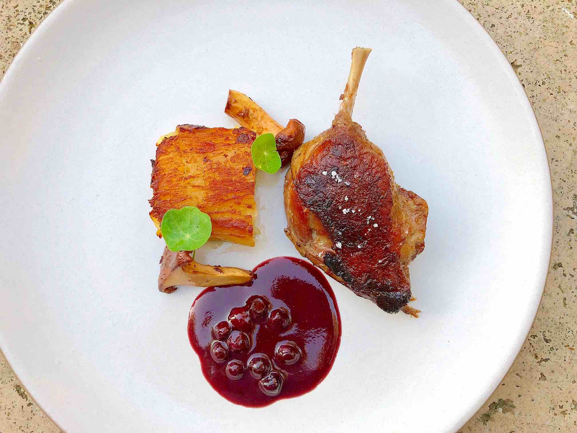 Duck confit with huckleberry and scalloped potatoes