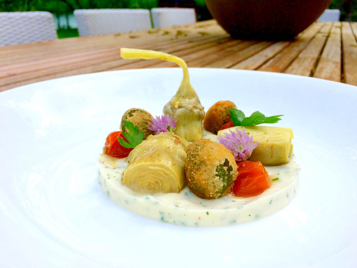 Artichokes with Fried Olives and Parsely