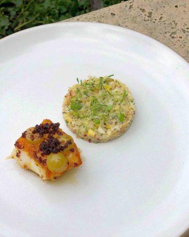 Sea Bass with Quinoa Salad and Pumpernickel