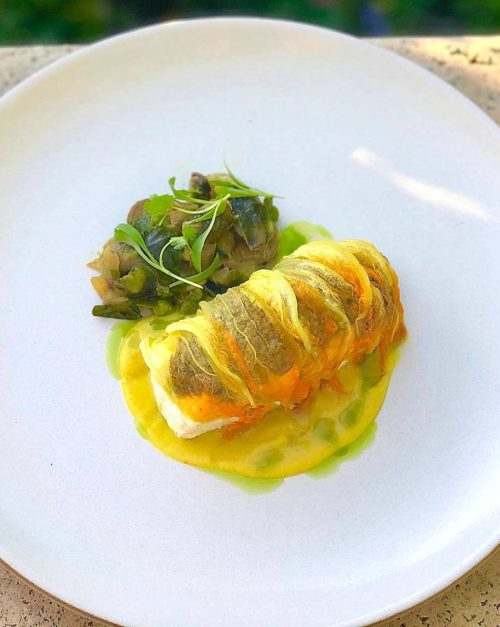 Wild Sea Bass Recipe with Squash and Brussels