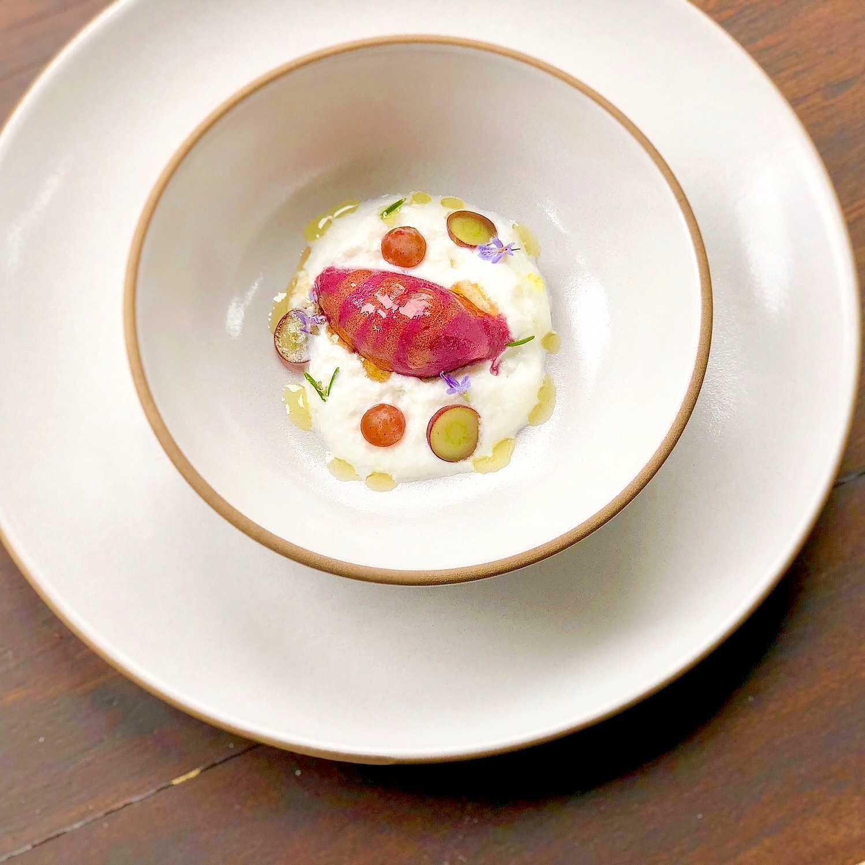 thomcord Grape sorbet, cheese foam, and honey