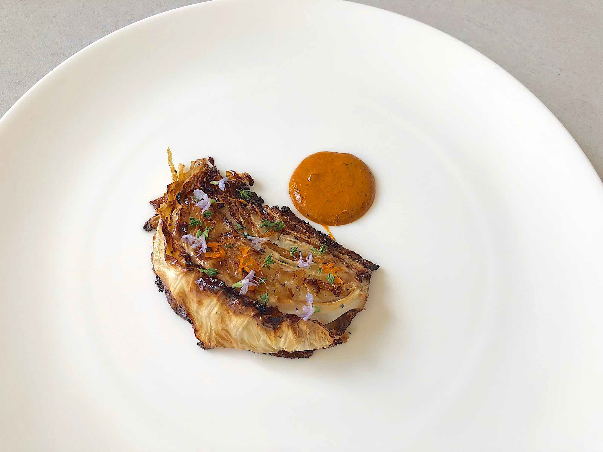 roasted cabbage with duck fat and harissa