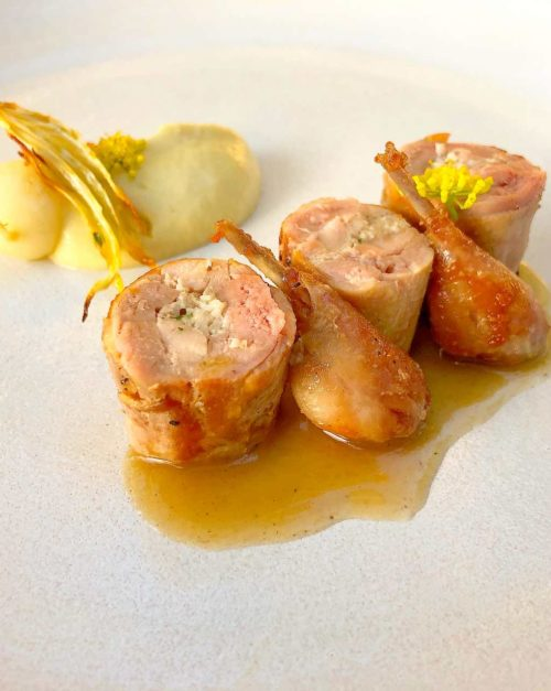 Stuffed quail with fennel and turnips