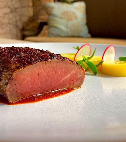 Lamb loin recipe with coffee chili sauce