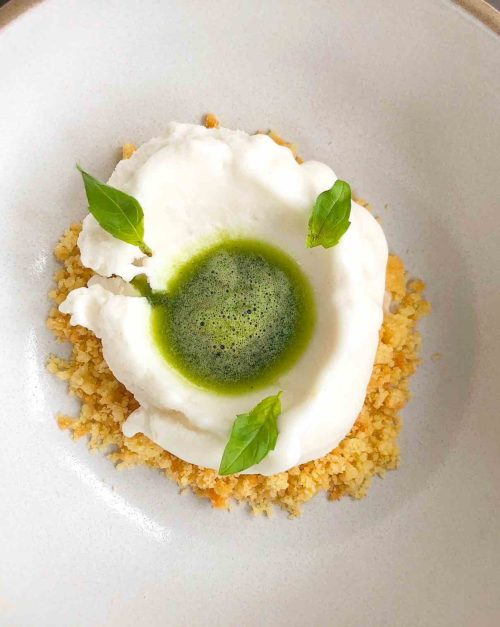 Coconut Sorbet with macadamia shortbread