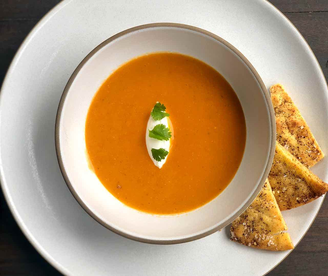 Red Lentil Soup recipe with pita chips