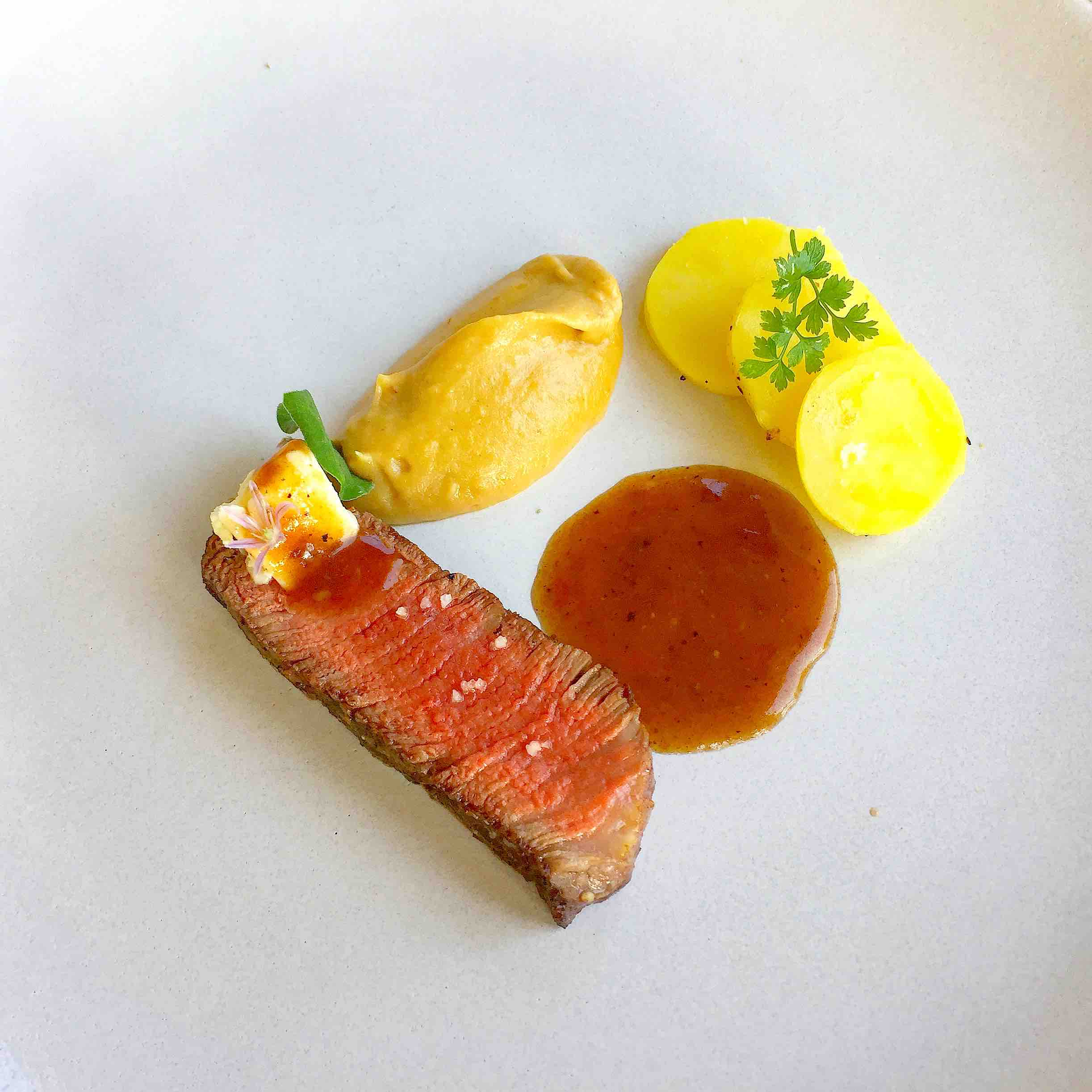 Beef fillet, Onion, and Potato