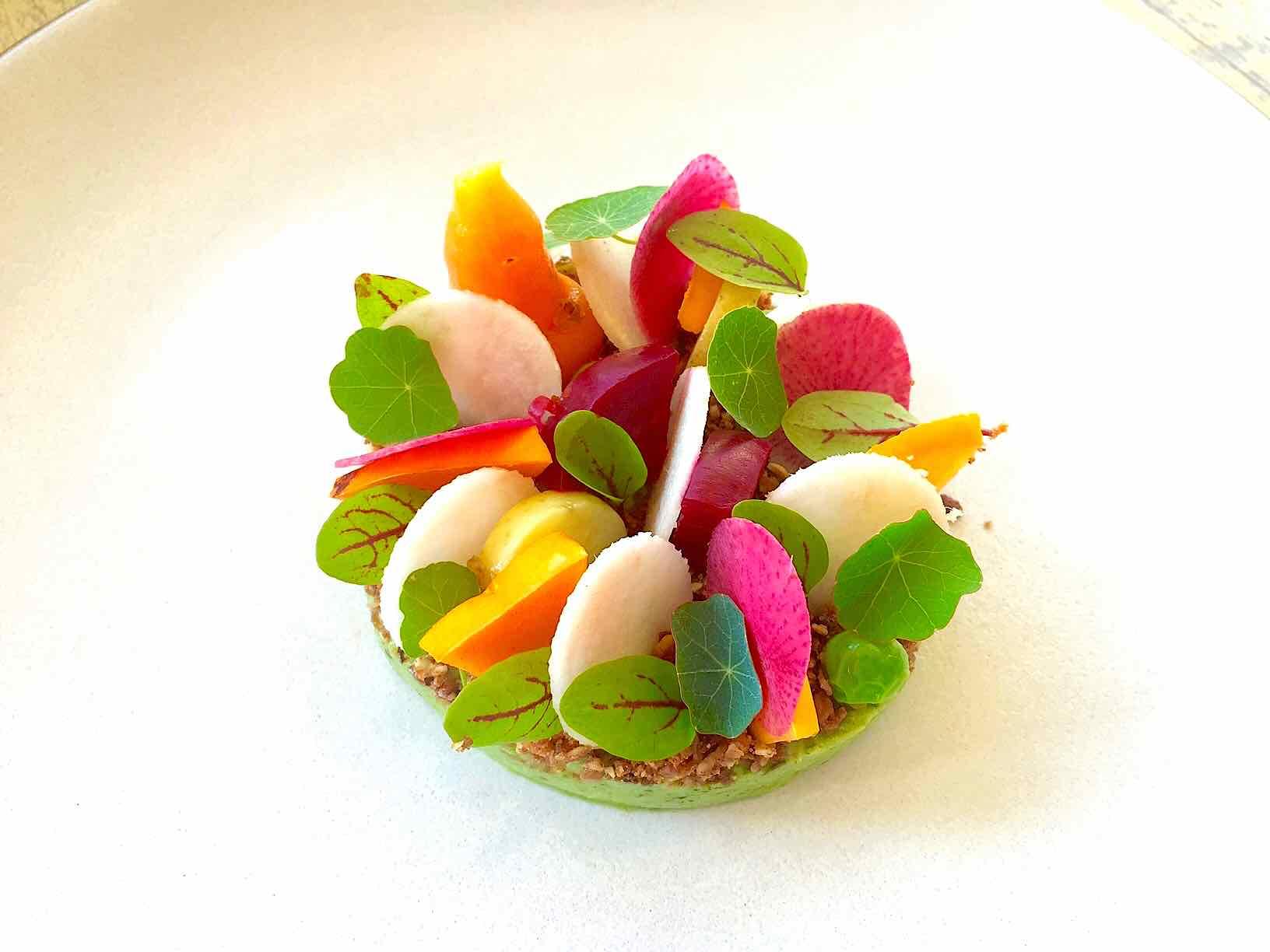 raw jicama salad avocado, radish, granola,