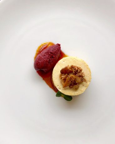 pumpkin mousse recipe with ginger bread and sorbet