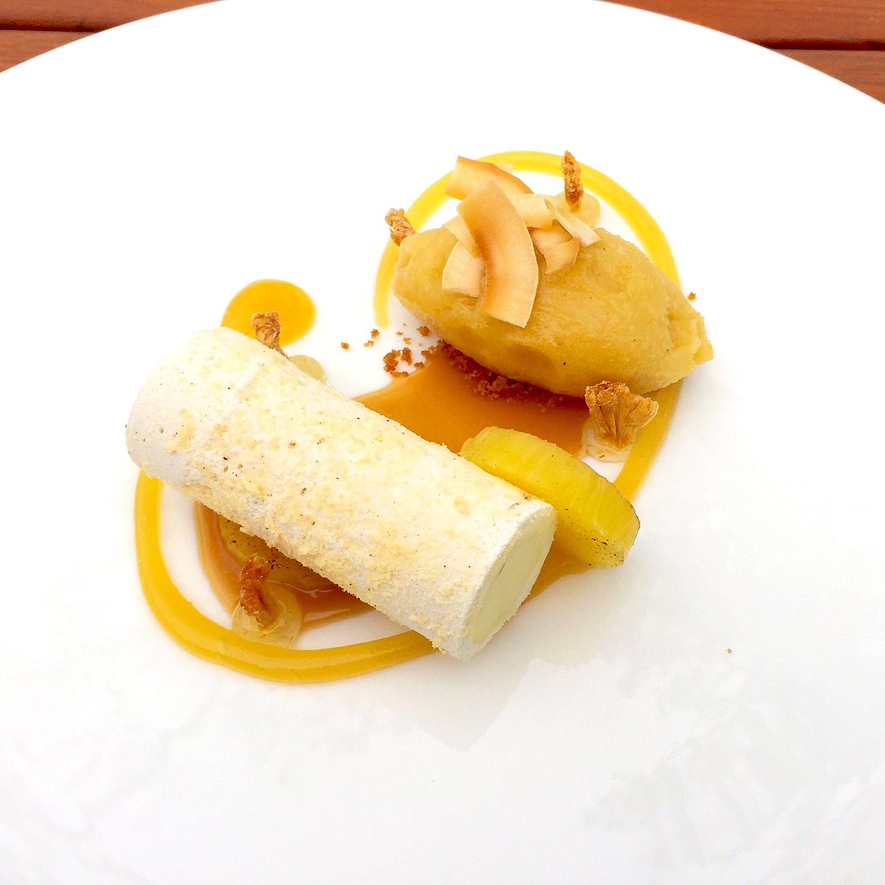 Coconut Vacherin Recipe with Lime and Pineapple sorbet