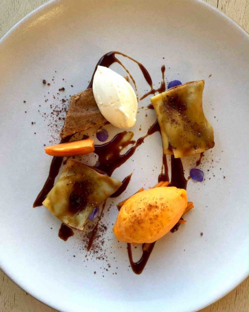 Honey Ganache ravioli with persimmon and chestnut