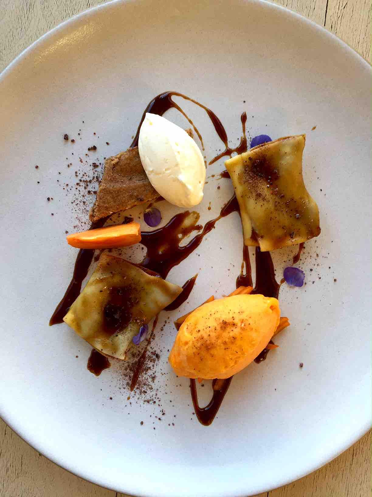 Honey Ganache ravioli with persimmon and chestnut
