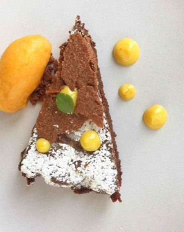 Gluten free chocolate cake with cara cara orange sorbet