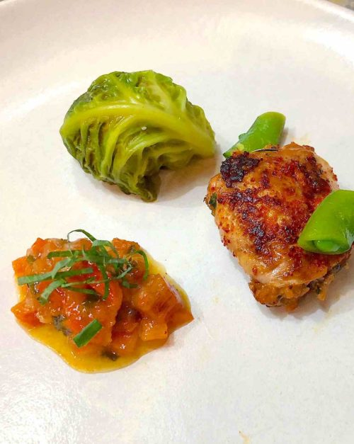Korean Quail recipe with persimmon