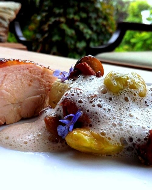 Smoked Chicken with Lima bean puree