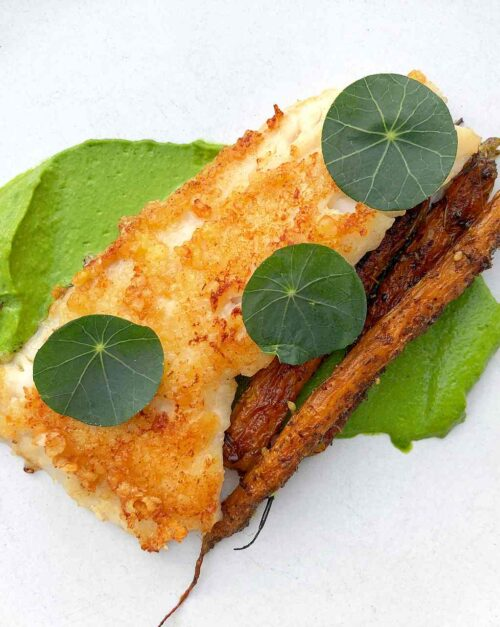 Pacific Rockfish recipe and Nasturtiums and carrots