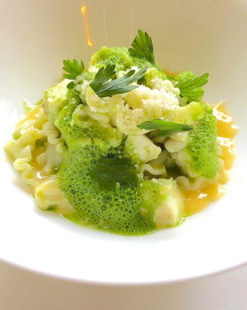 Mafaldine pasta recipe with snapper and parsley