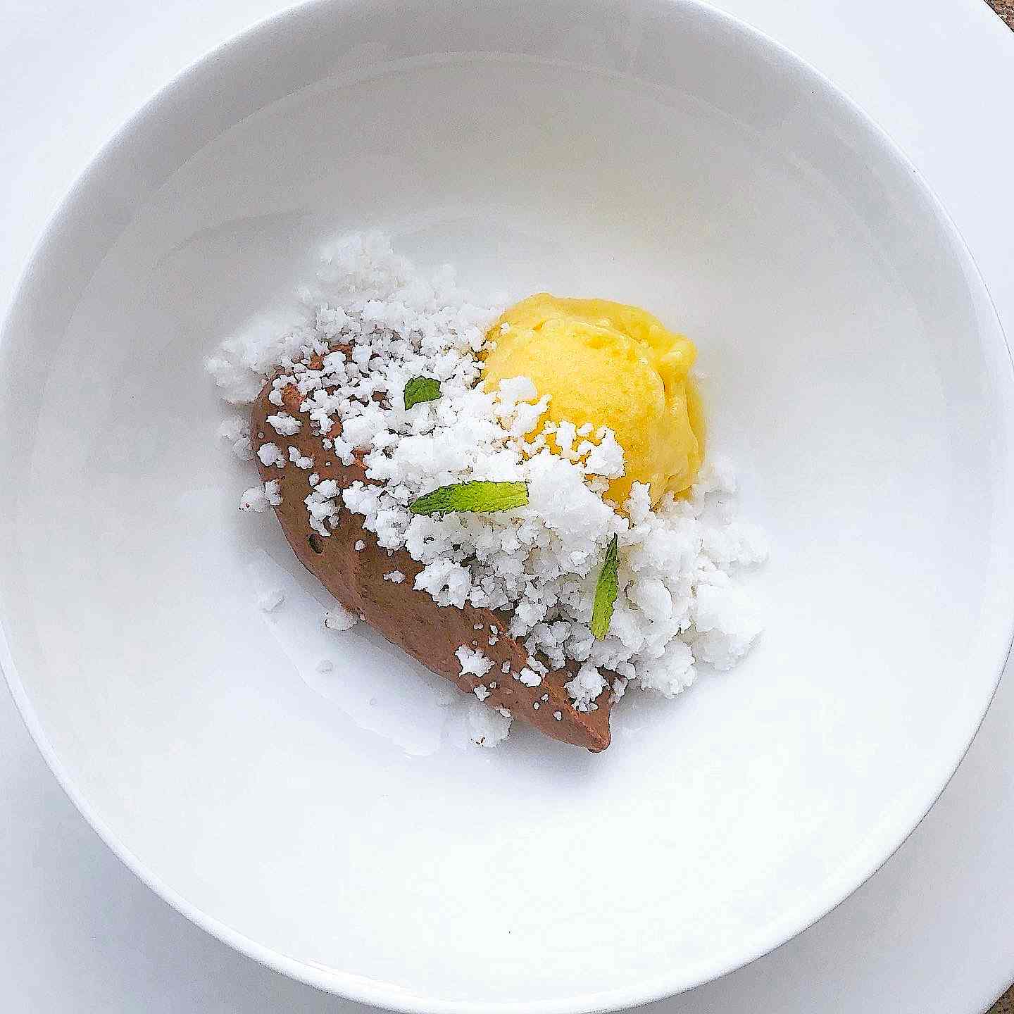 Mint Chocolate Mousse with coconut and mango