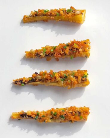 parsnip recipe with black garlic and citrus
